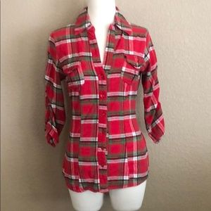 Red Plaid Fitted Button Down Flannel
